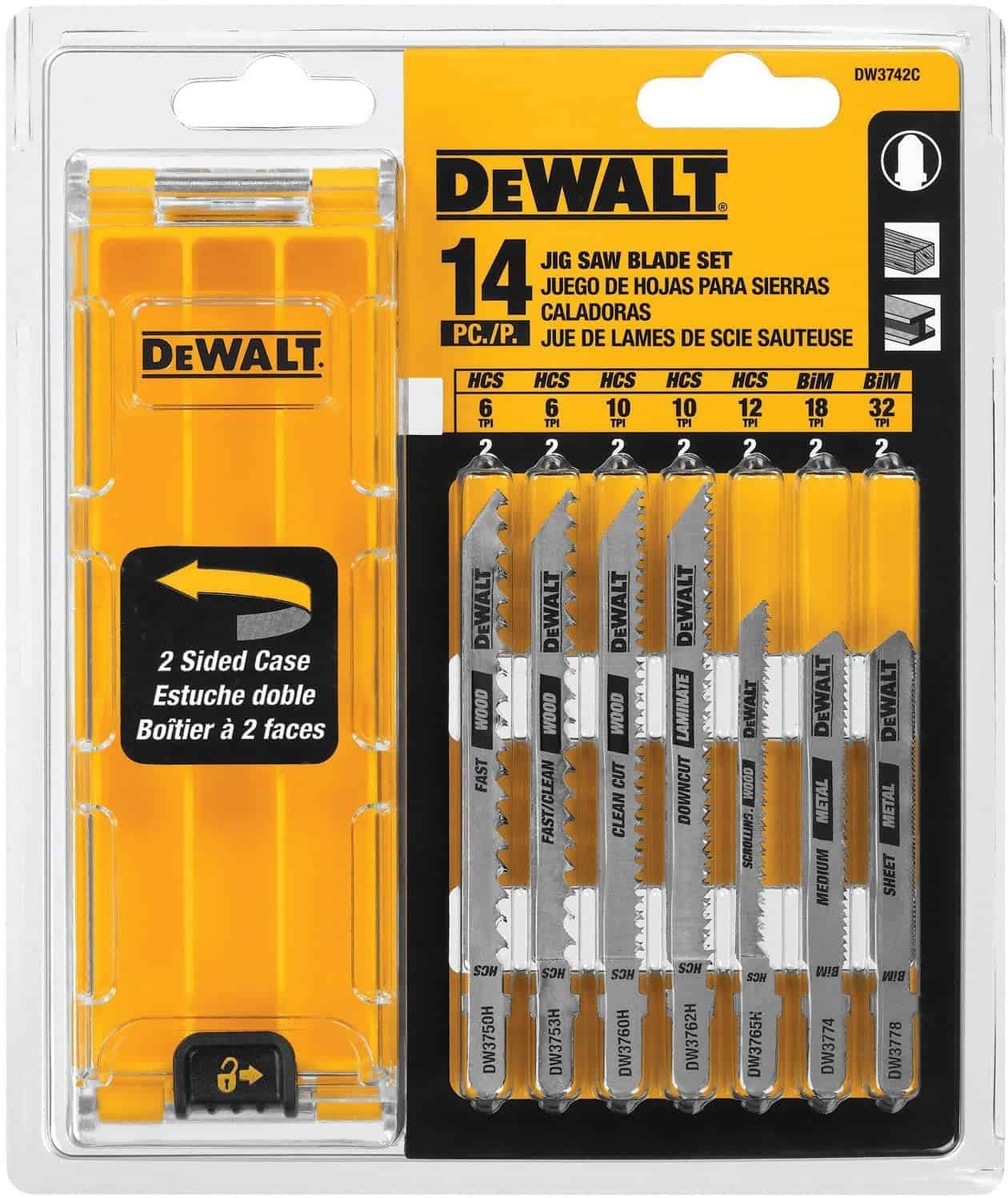 best jigsaw for blades 2021, DEWALT Jigsaw Blades Set with Case